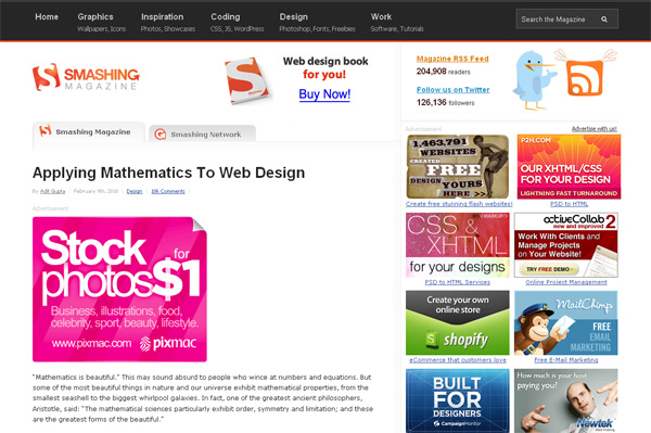 Applying Mathematics to Web Design