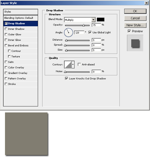 Drop Shadows with Photoshop's Blending Options - Step 2