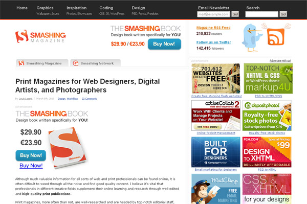 Print Magazines for Web Designers, Digital Artists and Photographers